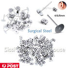 AU 200 Earring Stud Posts 4/6/8mm Pads backs Hypoallergenic Surgical Steel NEW A