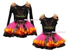 Thankful Turkey Black Cotton Top Hot Pink Satin Trim Skirt Girl Outfit Set NB-8Y