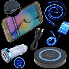 Wireless Car Charger LED Cable Clear Case for Samsung Galaxy Note 8 S7 Edge S8+