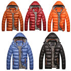 Mens Winter Warm Jacket Down Casual Parka Padded Coat Outwear Detachable Hat US