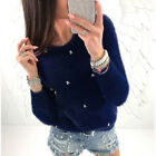 Womens Casual Long Sleeve Knitted Pullover Loose Sweater Jumper Tops Sweatshirt