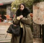 Womens Faux Fur Collar Hooded Loose Long Warm Down Cotton Jacket Parka Outwears