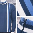 Art Gallery 60's Retro Mod 100% Cotton Zip Collar Knit Racing Stripe Cycling Top
