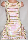 GIRLS 60s PEARL WHITE SEQUIN GOLD TRIBAL PATTERN EVENING DISCO DANCE PARTY DRESS