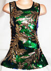 GIRLS 60s GREEN SEQUIN GOLD FLORAL PATTERN EVENING DISCO DANCE PARTY DRESS TOP