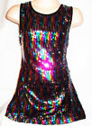 GIRLS 60s STYLE MULTI COLOUR SPARKLING GLITZY SEQUIN DISCO DANCE PARTY DRESS TOP