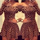 Fashion Women Off Shoulder Long Sleeve Leopard Cocktail Skater Party Mini Dress