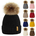 Winter Warm Women Kids Fur Knitted Ski Pom Bobble Baggy Crochet Beanie Cap UK