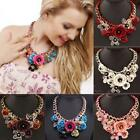 Statement Choker Flower Necklace Fashion Jewelry Crystal Chunky Collar Pendant .