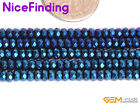 """Faceted Blue Metallic Hematite Rondelle Stone Spacer Beads Jewelry Making 15"""""""