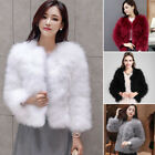 Womens Winter Warm Faux Ostrich Fur Coat Turkey Feather Trench Jacket Outwear UK