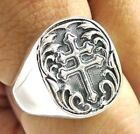 CROSS OF LORRAINE HERALDIC ARMS KNIGHT SOLID STERLING 925 SILVER MENS RING