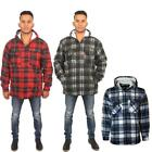 New Mens Thick Warm Fur Lined Hooded Lumberjack Check Padded Top Winter Shirt UK