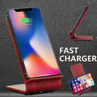 9V 10W Wireless Qi Fast Charger Dual Coil Stand Dock Pad For iPhone X/ 8/ 8 Plus