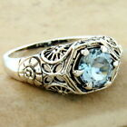 GENUINE SKY BLUE TOPAZ 925 STERLING SILVER FILIGREE ANTIQUE STYLE RING,    #1113