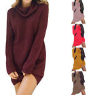 Womens Knit Cowl Neck Loose Long Sleeve Oversize Sweater Jumper Shirt Tops Dress