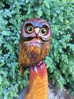 CHAINSAW CARVED OWL red cedar MINI Wood CARVING STATUE RUSTIC HOME GARDEN DECOR