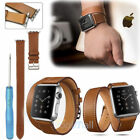 Genuine Leather Watch Band Double Tour Bracelet Strap For Apple iWatch 38mm/42mm