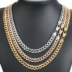 Hammered Curb Cuban 9mm Womens Mens Necklace Chain Rose Yellow White Gold Filled