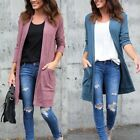 USA Womens Cotton Cardigan Jacket Coat Long Sleeve  Pocket Sweater Outwear Tops