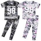 Girls Minx Army Camo NEW YORK 98 T-Shirt Top & Leggings Set 7 to 13 Years