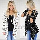 Women Striped Long Sleeve Spring Autumn Cardigan Wrap Top Thin Outwear PU Patch