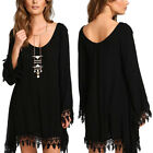 Casual Women Lady Fashion Long Sleeve Tassels Loose Blouse Sexy Mini Dress Tops