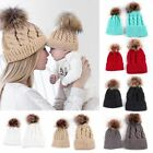 NEW Mom Mother+Baby Knit Pom Bobble Hat Kids Girls Boys Winter Warm Cotton Cap