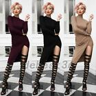 Office Lady Wear To Work Ribbed Sheath Bodycon Knitted Midi Dress Split Casual