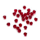 50 Dark Red Twisted Cut Faceted Crystal Glass Jewelry Making Spacer Beads 6-10mm