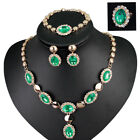 Pretty Alloy 18K Gold Plated Bridal Necklace Earring Bracelet Ring Jewelry Set