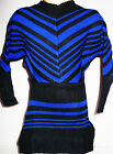 GIRLS 80s STYLE BLUE BLACK STRIPE BATWING WINTER KNIT JUMPER TUNIC DRESS TOP