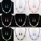 "Glass Crystal Faceted Beads Necklace Earrings Fashion Jewelry Set 17.5"" SBM073"