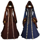 Women's Vintage Victorian Renaissance Gothic Dress Costume Hooded Medieval Dress