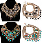Ethnic Vintage Snake Chain Multi-color Resin Crystal Choker Bib Pendant Necklace