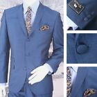 Adaptor Clothing Mod 60's Retro 3 Button Slim Mohair JACKET ONLY Electric Blue