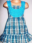 GIRLS BLUE MIX CHECK TARTAN PRINT ROSETTE TRIM PARTY DRESS TOP and LEGGINGS