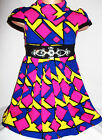GIRLS BRIGHT NEON MULTI COLOUR GEO PRINT DIAMONTE TRIM WINTER KNIT PARTY DRESS