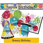 BREEZY BIRTHDAY Party Range (Tableware & Decorations) (1C) Happy Birthday