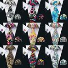 blue pink yellow - Classic Blue Pink Yellow Black Floral Cotton Printing Mens Silk Necktie Set Lot