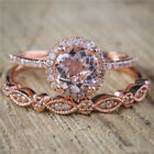 2PC Trendy Round Rhinestone Crystal Bridal Jewelry Engagement Wedding Ring Set