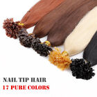 "Remy 16"" ~26"" Nail U Tip Pre bonded Human Hair Extensions 0.5/1gram 100 Strands"
