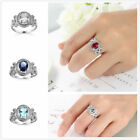New OVAL Zircons Diamonique Real Gold Plated Wedding Promise Finger Ring Sz6-10