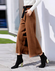 Women Wool Blend High Waist Wide Legs Cropped Trousers Casual Loose Pants B934