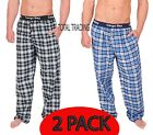 2 pack MENS PYJAMAS lounge pants bottoms  poly cotton checks WITH POCKETS