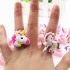 1/5/10Pcs Cartoon Unicorn Rings Girls Silicone rubber Party Favors Kids Gifts