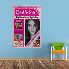 Personalised Photo Collage Portrait Happy Birthday Banner Pink Flag & 4  Eyelets