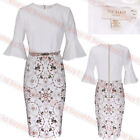 New Ted Baker BARBZ Majestic Ruffle Sleeve Contrast Dress 1234