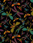 Timeless Treasures Dragonflies on Black Cotton Quilt Fabric