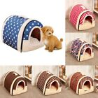 2 in 1 Pet Dog Bed House Kennel Mat Pad Puppy Cat Cushion Tent Washable&Foldable